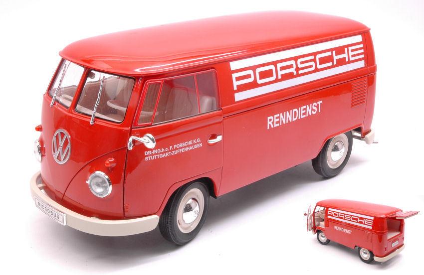 Volkswagen VW T1 Bus 1963 Panel Van  PORSCHE RENNDIENST RENNDIENST RENNDIENST  1 18 Model WELLY bae2c5