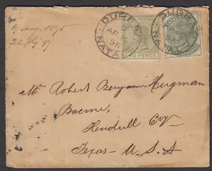 South-Africa-Natal-1895-small-cover-sent-to-Texas-USA-QVic-stamps