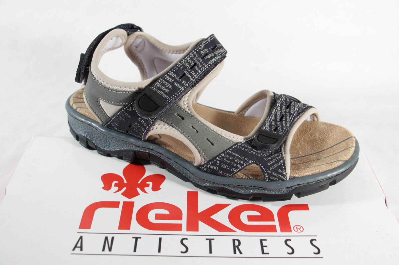 Rieker Sandali In Da Donna Sandalo Sandali Grigio Chiusura In Sandali Velcro 68872 NUOVO!!! 9c6134