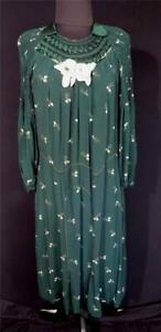 RARE-VINTAGE-1920-039-S-ORNATE-FRENCH-GREEN-FLORAL-SILK-amp-RAYON-DRESS-SIZE-16-18