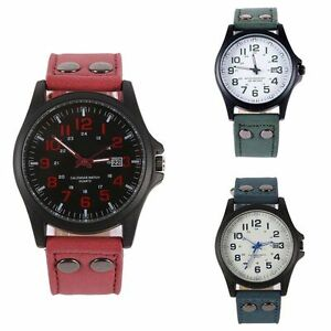 fashion men 039 s leather band watches military sport quartz date image is loading fashion men 039 s leather band watches military