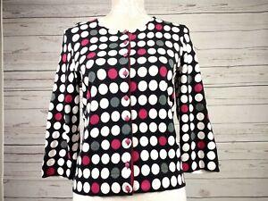 Hobbs-Cropped-Polka-Dot-Cardigan-Vintage-Inspired-Cotton-Silk-Blend-Size-12