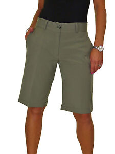 91445d388c ICE (1492-5) Ladies Smart Casual Washable Tailored Shorts Khaki 8-22 ...