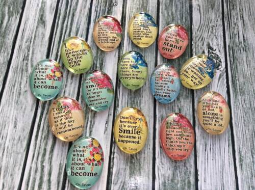 10 x Dr Suess Quote Handmade Dome Cabochons 25x18mm jewellery making scrapbook