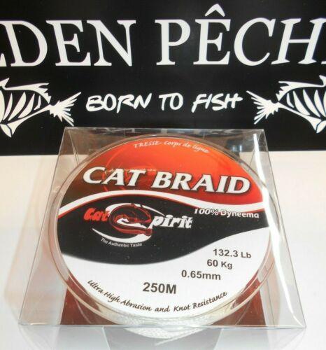 tresse cat spirit silure cat braid 250m 65//100 60kg 100/% dyneema blanche
