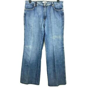St-John-Sport-Womens-Size-14-Medium-Wash-Straight-Leg-Jeans-Wide-Loose-Fit-Pant