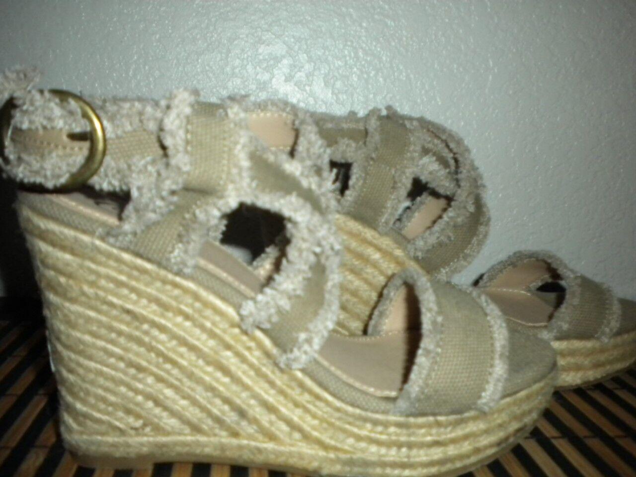 Tamaño de la marca DULCES  2 correas entrecruzadas de Mimi Caqui Cuerda Sandalia de cuña