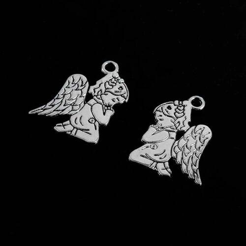 30X Plaqué Argent Ange Charme Pendentif À faire soi-même necklave Bracelet Making Craft Jewelry