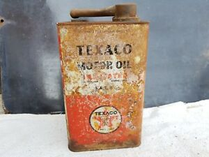 1930s-Vintage-Rare-Texaco-Motor-Oil-Insulated-Against-Heat-1-Gallon-Tin-Can-USA