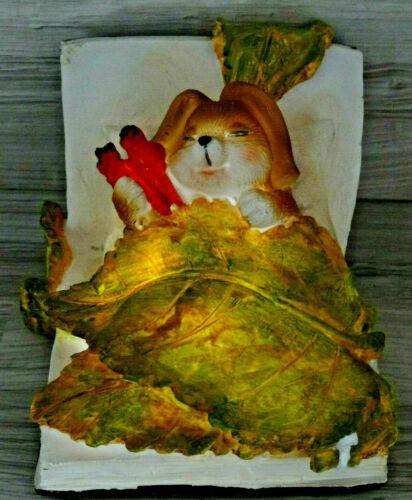 Süsse Deko-Figur beleuchtet--Hase i.Bett--Aufstellfigur--Tischdeko--14 x 11 cm