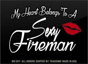 Funny Fireman Vinyl Decal Sticker I Love My Sexy Husband Man