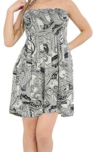 New Womens Printed Gathered Sheering Boobtube Flared Swing Dress Top 8-26