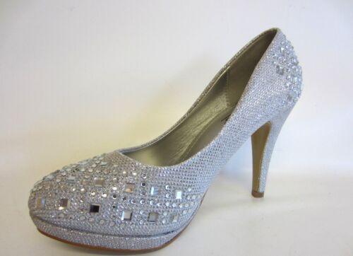 Anne Michelle Ladies Silver Diamante Court Shoes F9R804 R42B