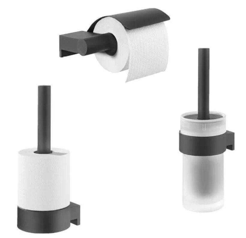 Tiger Wandmontiertes Toilettenbürsten-Set Bold schwarz matt