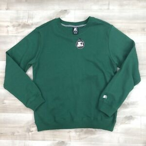 NWT-Starter-Men-Long-Sleeve-Pullover-Crewneck-Sweatshirt-Green-Size-Medium