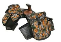 Real Oak Orange Camouflage Cordura Nylon Saddle Insulated Trail Horn Bags Tack