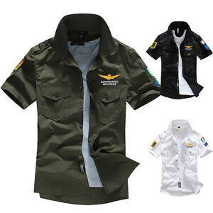 Mens-Shirts-Military-Summer-Cargo-Slim-Fit-Army-Tactical-Combat-Work-shirt-L-5XL