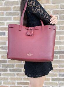Kate Spade Hayes Street Nandy Tote Sienna Burgundy Bow Medium Handbag