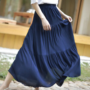 Lady-Linen-Cotton-Maxi-Skirt-Long-A-line-Pleated-Ethnic-Beach-Vintage-Casual-New