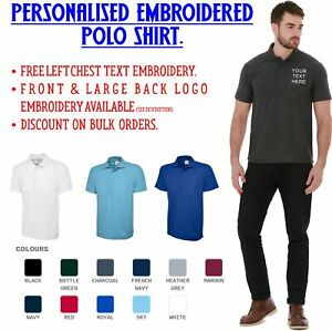 Personalised-Embroidered-Polo-Shirt-Uniform-Your-Text-Name-Logo-Custom-Uneek-UX1
