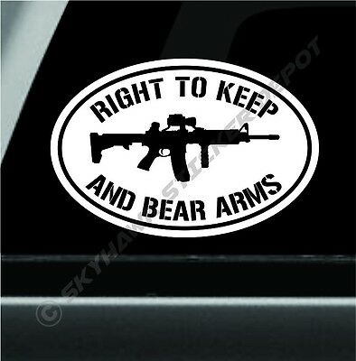 Right To Keep Bear Arms Bumper Sticker Ar15 Molon Labe Fits Ford F150 Jeep Dodge