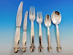 61fdbdba7601 Details about Bittersweet by Georg Jensen Sterling Silver Flatware Set 12  Dinner Service 78 Pc