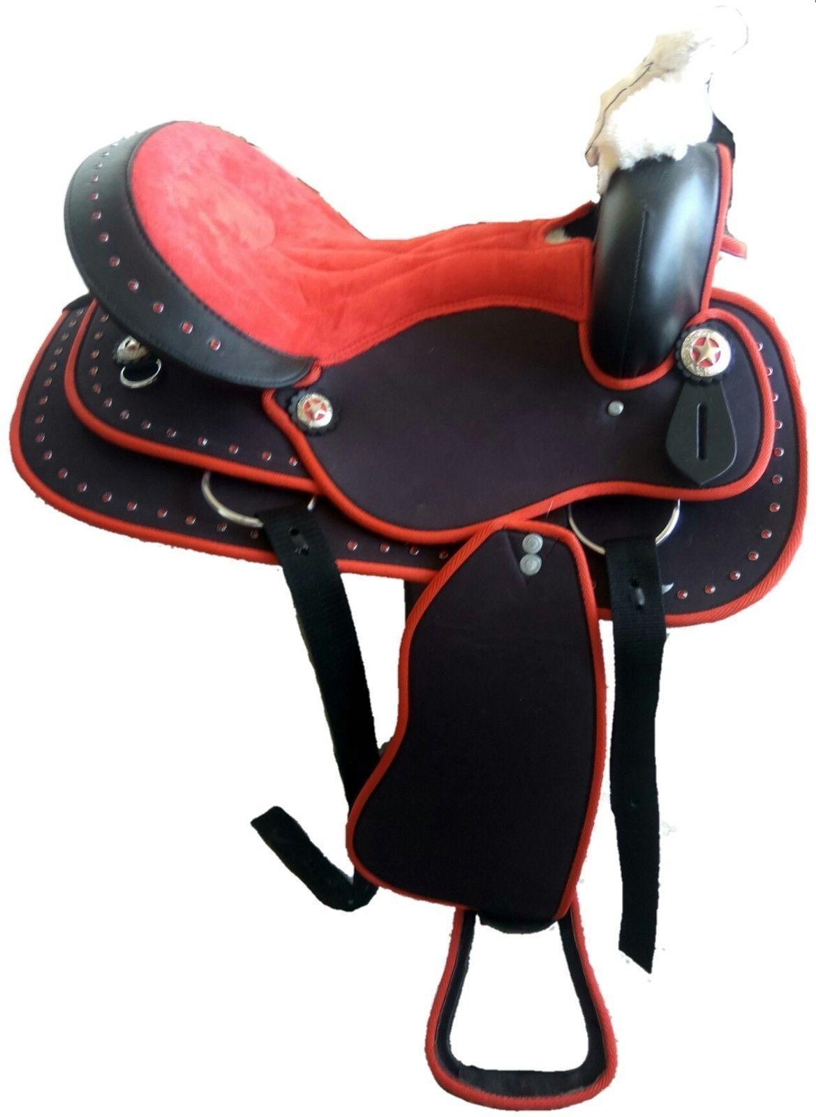 New Western rosso Cordura Pleasure Trail Barrel Racing Horse Saddle Free Shipping