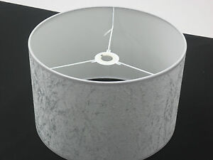 Captivating Image Is Loading Hand Made 8 034 Silver Grey Velvet Lampshade