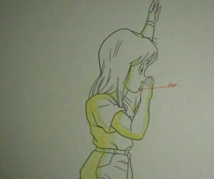 Original-Bulma-Dragon-Ball-Z-Android-Cell-Saga-Anime-Production-Douga-Pencil-Cel