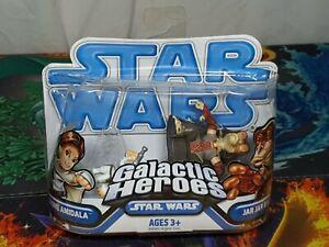 Playskool-Star-Wars-Galactic-Heroes-Padme-amp-Jar-Jar-Figures-Hasbro-2008-Aus