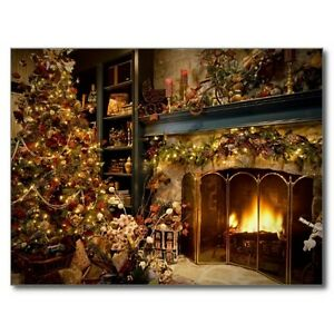 Image Is Loading Postcard 034 Merry Christmas 034 034 The Fireplace