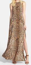 Michael Kors Chocolate Leopard Print Jersey Studded Maxi Dress, XS - MSRP $175