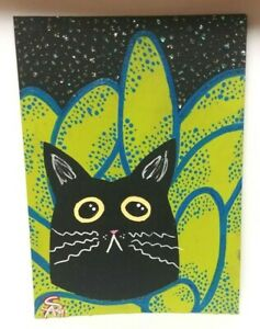 Original-OOAK-Painting-ACEO-ATC-2-5-x-3-5-Signed-Black-Cat-in-Blue-Green-Plant