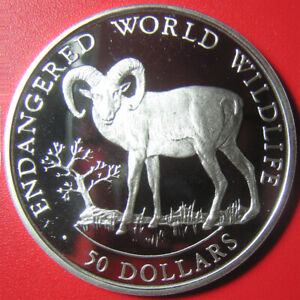 1990-COOK-ISLANDS-50-SILVER-PROOF-BIGHORN-SHEEP-ENDANGERED-WILDLIFE-CROWN-COIN