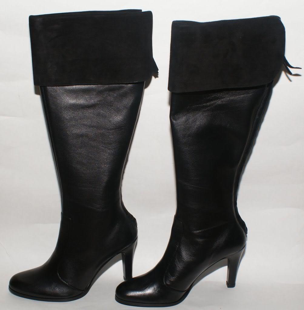 Lauren Ralph Lauren Beatrice nero nero nero Leather Nappa Suede Cuff Knee High stivali 5 8f3e92