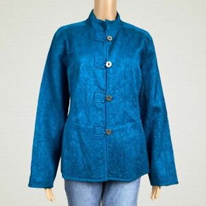 Chico-039-s-Textured-Print-Loop-Button-Shirt-Jacket-2-LARGE-12-14-Teal-Blue-Green