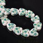 10pcs 14mm Heart Geramic Loose Spacer Beads Jewerly Making Green Spring