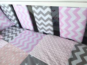 Handmade-Cot-Bar-Bumpers-Set-Of-10-Pink-amp-Grey-Chevron-New-Baby-Girl-Gift