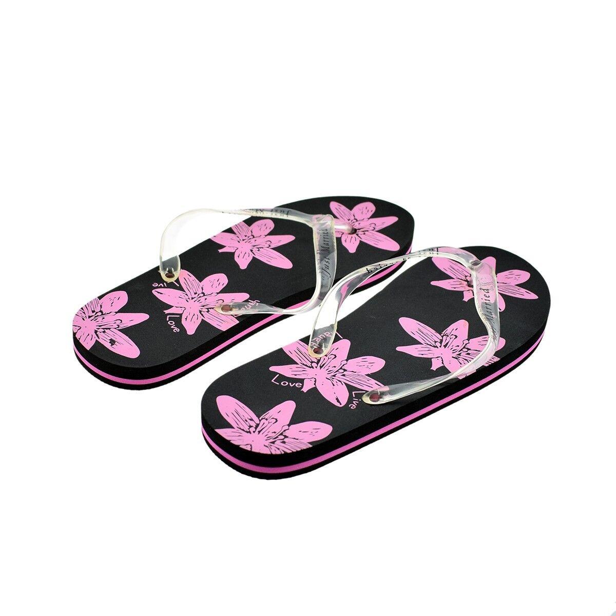 A Pair of Pink & Black Ladies Just Married Flip Flops SIZE MEDIUM (X47)