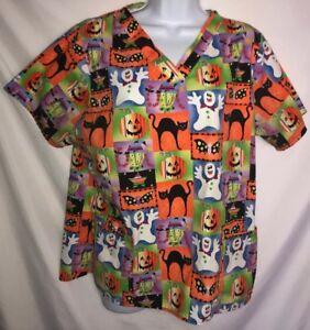 Women-s-S-Small-Scrub-Top-Halloween-Jack-O-Lanterns-Cats-Witches-Orange-Green