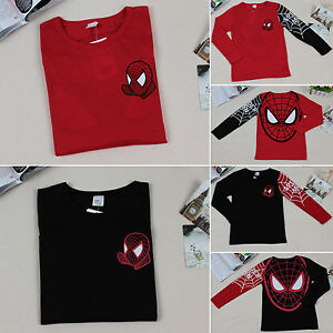 Kids-Baby-Boys-Spider-man-T-Shirts-Long-Sleeve-Tops-Jumper-Clothes-Sweatshirts