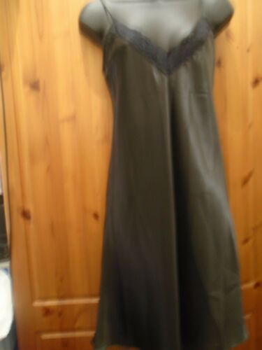 Black Satin Nightdress Chemise with lace trim Size 16