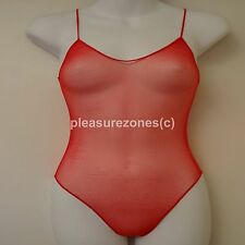 Red Vintage Style Sheer See Through Body Teddy Camisole One Size Fits 8 10 12 14