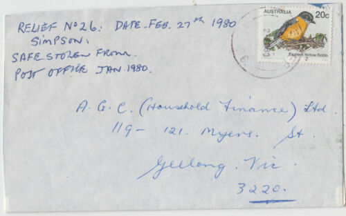 Postmark RELIEF 26 Simpson Victoria on 20c bird stamp on cover 1980 to Geelong