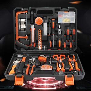 102Pcs-Hardware-Tool-Kit-Wrench-Socket-Pliers-Hammer-Hacksaw-box-Home-Car-Tool