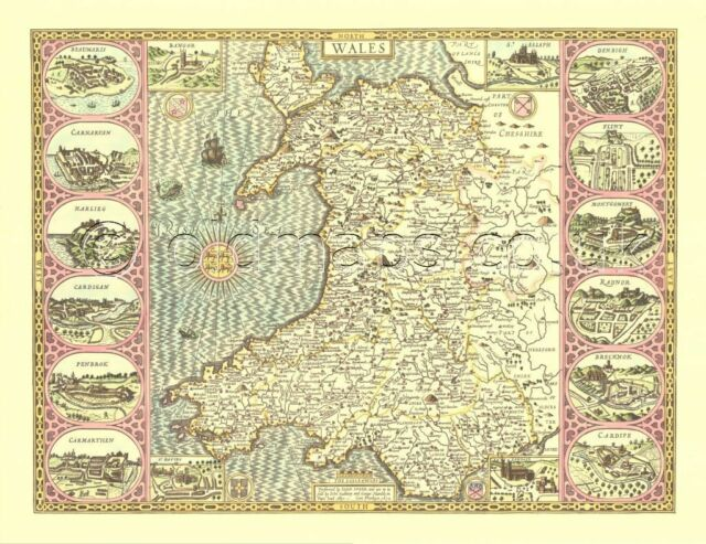 WALES Welsh map 1610 Replica Old John Speed 17c.  Full Size PRINT  UNUSUAL GIFT?