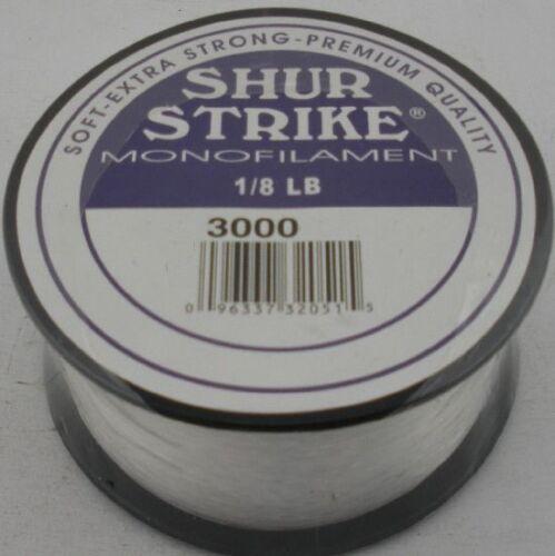 SEA STRIKER 40lb Test 1//8lb Spool  125yds SHUR STRIKE MONOFILAMENT LINE 11424