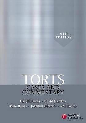 1 of 1 - Torts: Cases and Commentary by Harold Luntz, D. Hambly (Paperback, 2008)