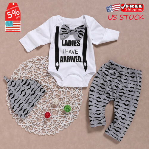 Cute Newborn Infant Baby Boys Gentleman Outfit Clothes Romper Tops+Pants+Hat Set