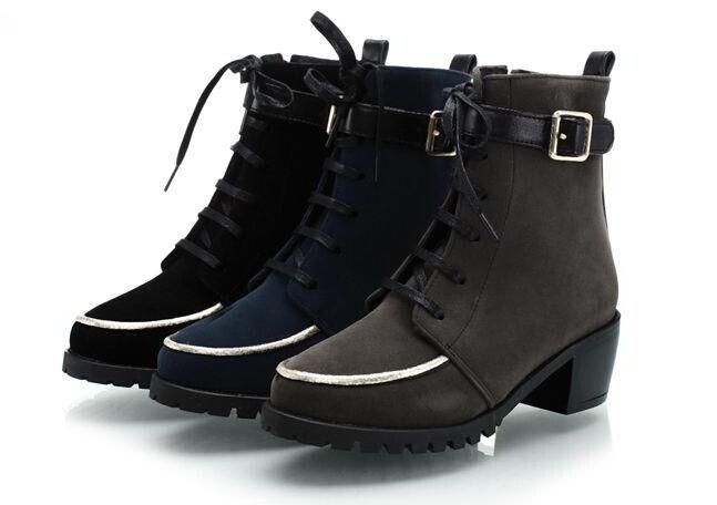 Bottes hiver confortable chaussures pour femmes talon 5.5 gris bleu noir 8727